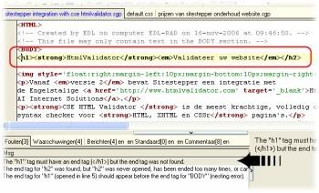 Check de html syntax met HtmlValidator en Sitestepper